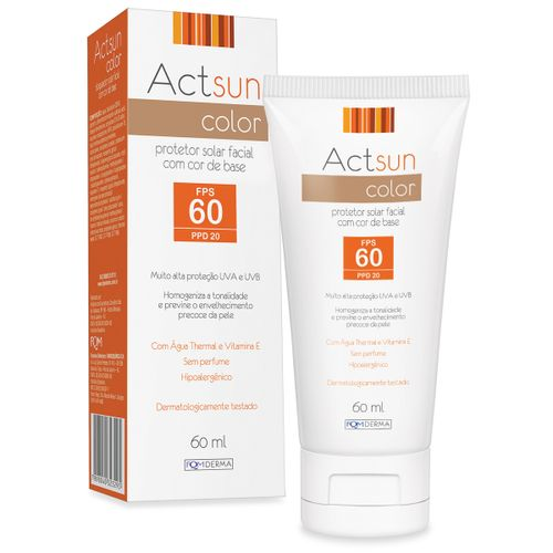 Actsun Protetor Solar Facial  Fps60 Com Cor 60ml
