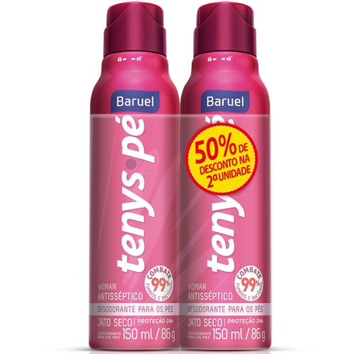 Desodorante Tenys Pé Baruel Woman Jato Seco 86g 50% Desconto Na 2ª Unidade