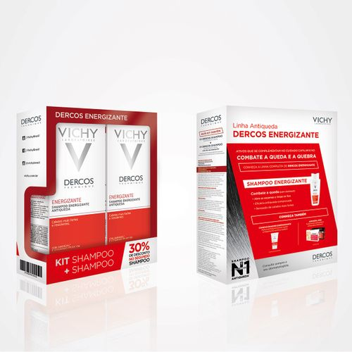 Kit Com 02 Shampoo Dercos Vichy Aminexil Energisant 200ml Desconto De 30% Na 2ª Unidade