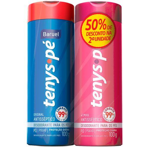 Kit Desodorante Tenys Pé Baruel Original Pó 100g Com 02 Unidades Com 50% De Desconto Na 2ª Unidade