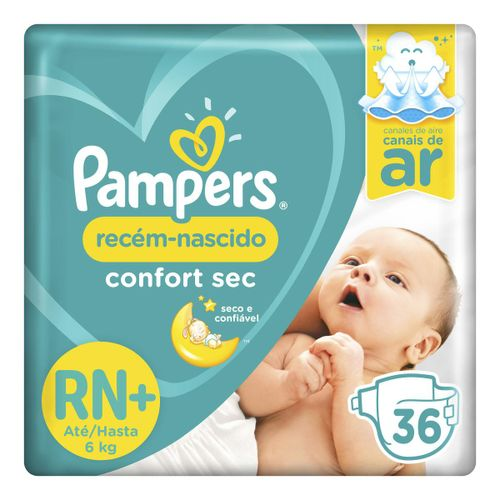 Fralda Pampers Confort Sec Rn+ 36 Unidades
