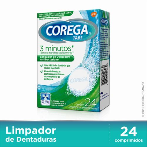 Corega Tabs Limpador De Dentaduras  24 Pastilhas