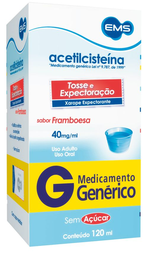 Acetilcisteína 40mg Xarope Adulto 120ml Genérico Ems