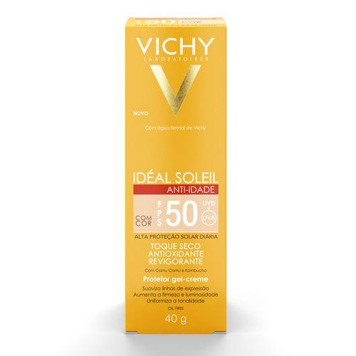Ideal Soleil Anti-Idade Vichy Fps50 Toque Seco Com Cor Gel Creme 40g