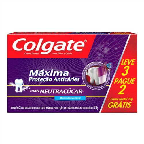 Creme Dental Colgate Máxima Proteção Anticáries Mais Neutraçúcar 70g Leve 3 Pague 2