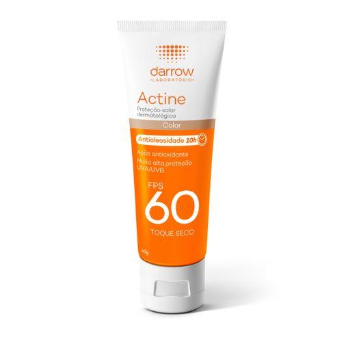 Protetor Solar Facial Actine Com Cor 10h De Antioliosidade Fps60 Toque Seco 40g