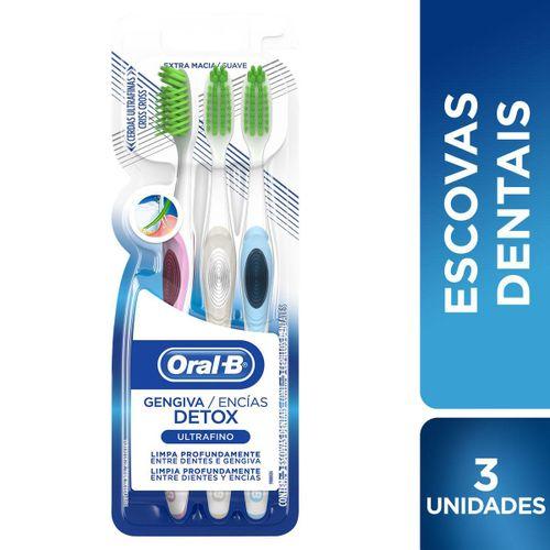 Escova Dental Oral-B Ultrafino Detox 3 unidades