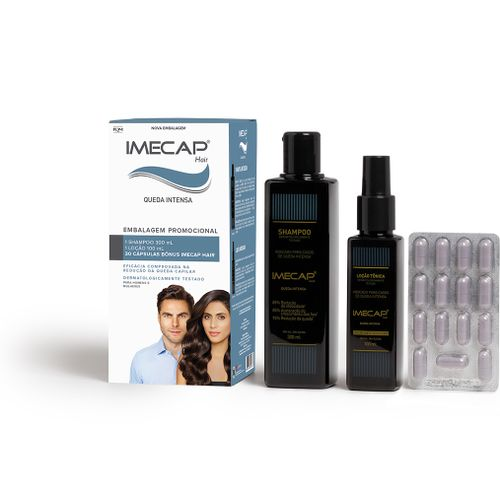 Kit Imecap Hair Queda Intensa Com Shampoo 300ml + Loção 100ml + 30 Cápsulas
