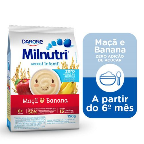Cereal Infantil Milnutri Banana E Maçã Zero 150g