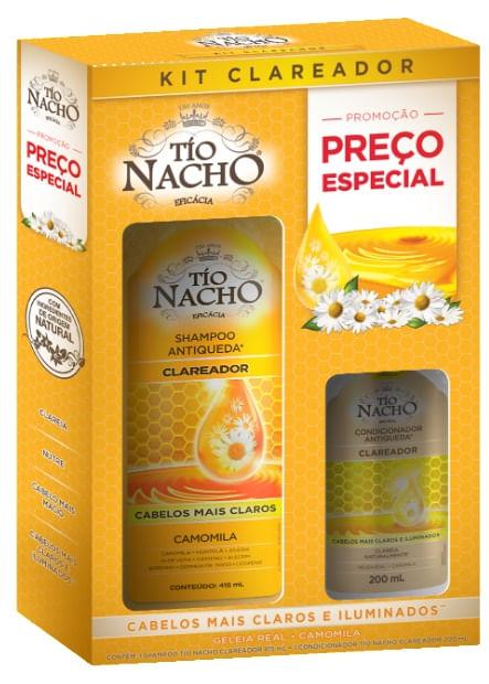 Shampoo Tio Nacho Clareador Camomila 415ml + Condicionador Clareador 200ml Preço Especial