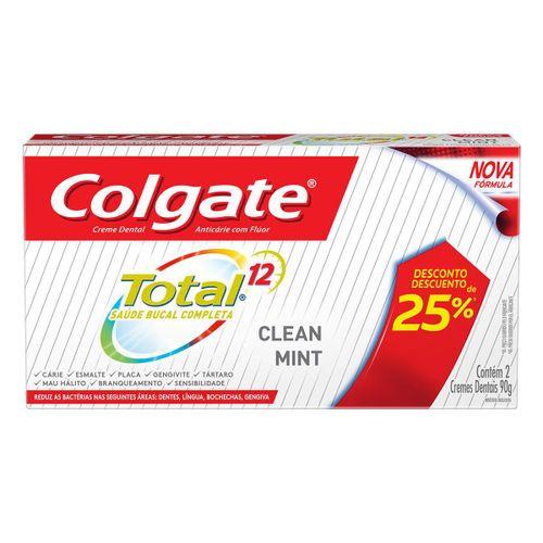 Creme Dental Colgate Total 12 Clean Mint 90g Promo 2 Un Com 25% De Desconto