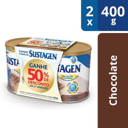 Complemento Alimentar Sustagen Nutrição e Energia Sabor Chocolate - Kit Lata 2x380g