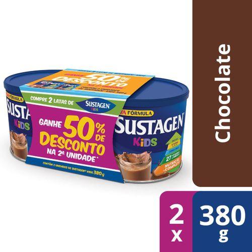 Complemento Alimentar Sustagen Kids Chocolate Kit Lata 2x380g