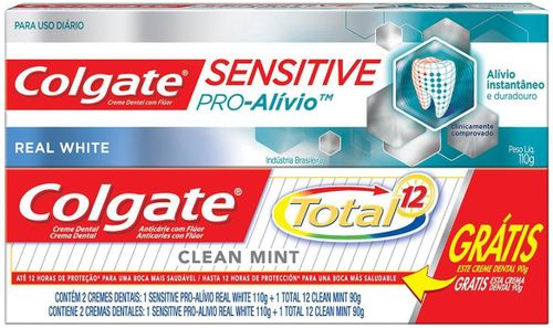 Creme Dental Colgate Sensitive Pro Alivio Branqueador 110g Grátis Creme Dental Total 12 Clean Mint 90g