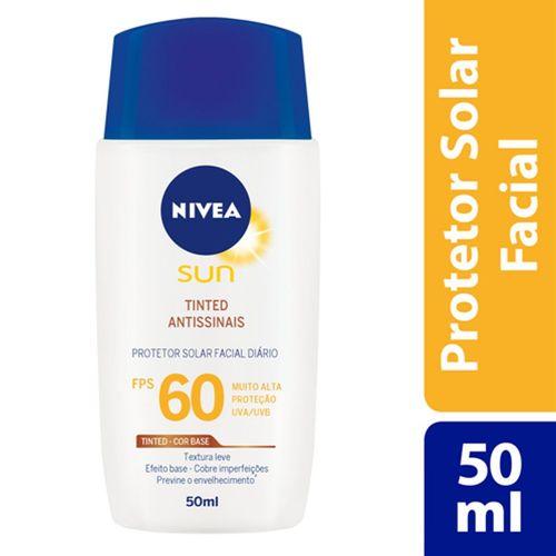 Protetor Solar Nivea Sun Facial Tinted Antissinais Fps60 50ml