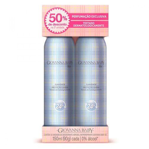 Desodorante Giovanna Baby Blue Aerosol Antitransparente 90g Com 2 Unidades Com 50% Na 2ª Unidade
