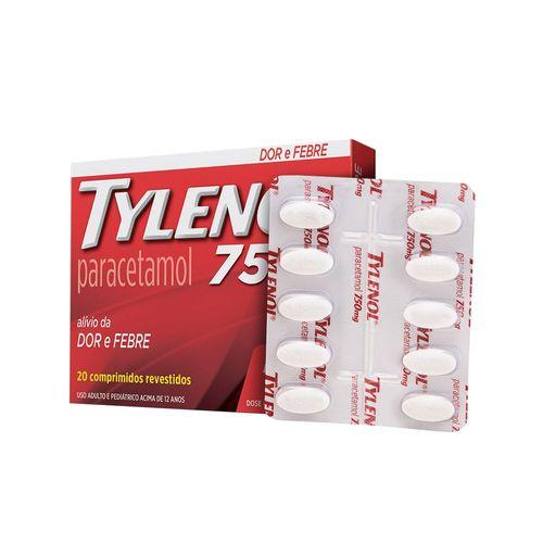 Analgésico Tylenol Cartucho 750mg 20 Comprimidos