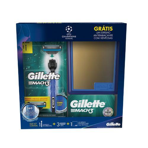 Aparelho Para Barbear Gillette Mach3 Aqua + 3 Carga Mach 3 Grátis Espelho Com Ventosas