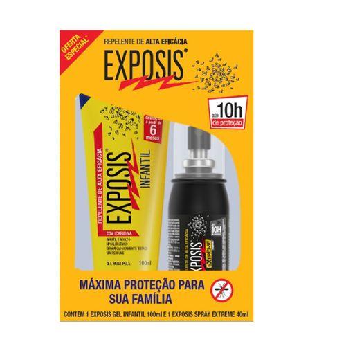 Repelente Exposis Infantil Gel 100ml + Repelente  Extreme Spray 40ml Preço Especial