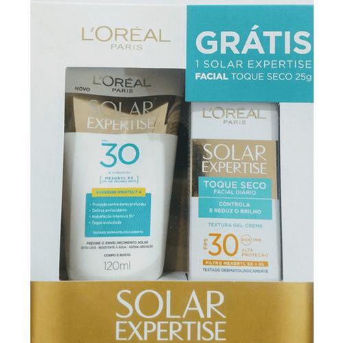 Protetor Solar Loreal Expertise Fps30 120ml Grátis Protetor Facial Toque Seco 25g