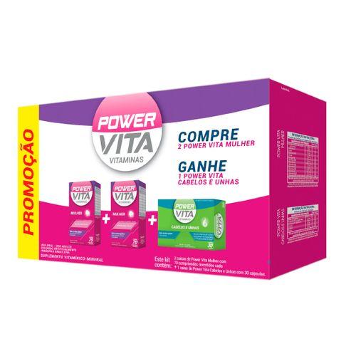 Kit Com 2 Power Vita Mulher Com 60 Comprimidos + Power Vita Nutrição Capilar Com 30 Capsulas
