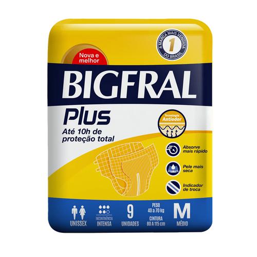 Fralda Geriátrica Bigfral Plus M Com 9 Unidades