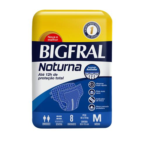 Fralda Geriatricas Bigfral Noturna Tamanho M Com 8 Unidades