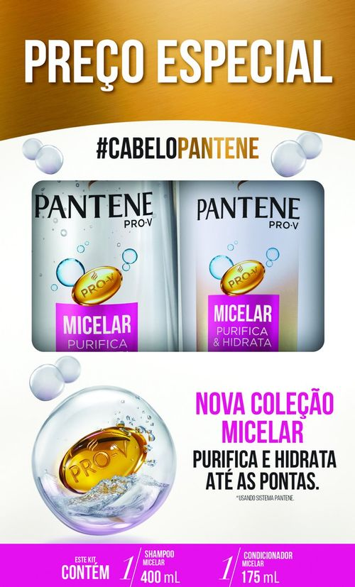 Shampoo Pantene Micelar 400ml + Condicionador 175ml