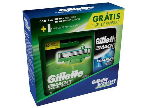 Carga Gillette Mach3 Sensitive Com 4 Unidades Grátis Gel De Barbear 71g