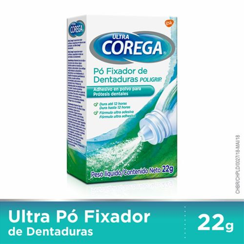 Corega Fixador De Dentaduras Ultra Pó 22g