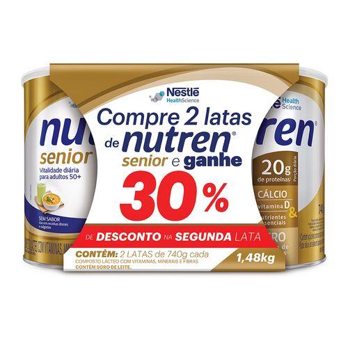 Nutren Senior Sem Sabor 30% De Desconto Na 2 Unidade 740g Cada