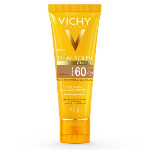 Protetor Solar Facial Com Cor Vichy Ideal Soleil Clarify Morena Fps60 40g
