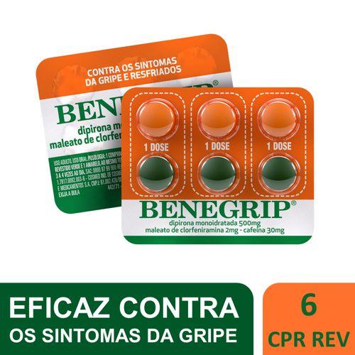 Benegrip Blister 6 comprimidos contra gripe e resfriado