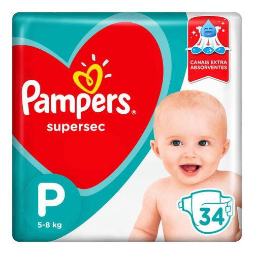 Fraldas Pampers Supersec P 34 Unidades