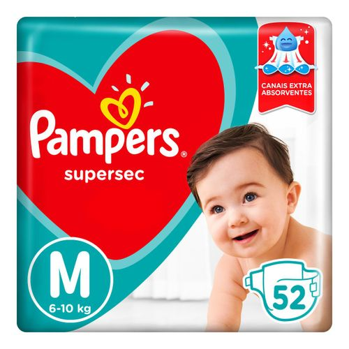 Fraldas Pampers Supersec M 52 Unidades