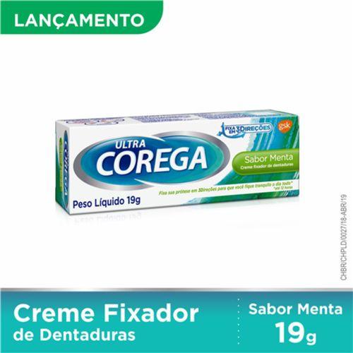 Fixador De Dentadura Corega Ultra Sabor Menta Creme 19g