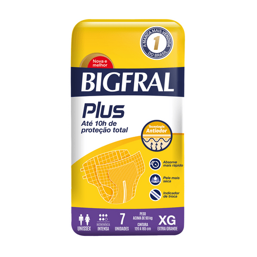 Fralda Geriátrica Bigfral Plus Xg Com 7 Unidades
