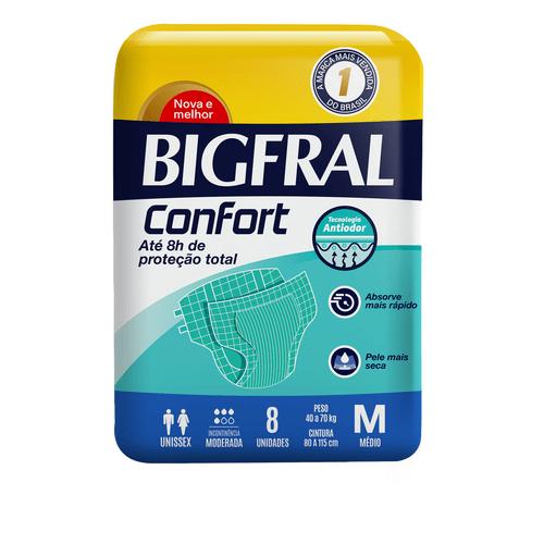 Fralda Geriatrica Bigfral Confort Tamanho M Com 8 Unidades