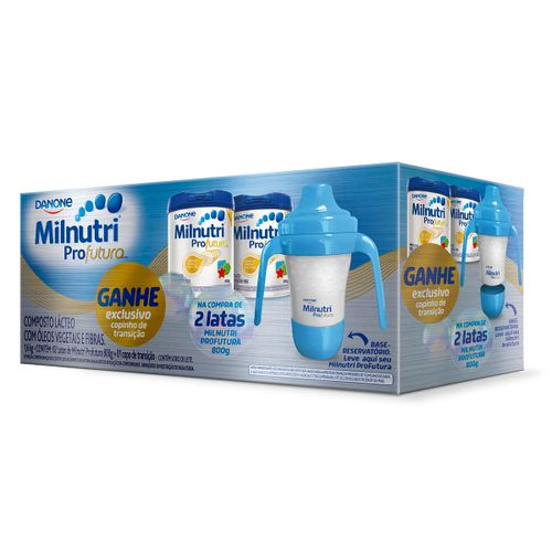 Composto Lácteo Milnutri Profutura 800g Com 2 Latas Grátis Copo De Transição