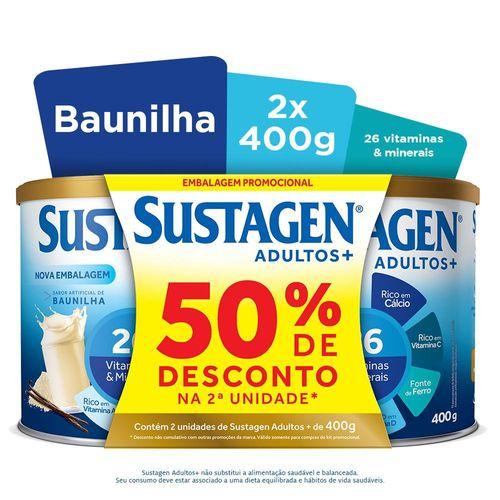 Complemento Alimentar Sustagen Adultos+ Sabor Baunilha - Kit Lata 2x400g
