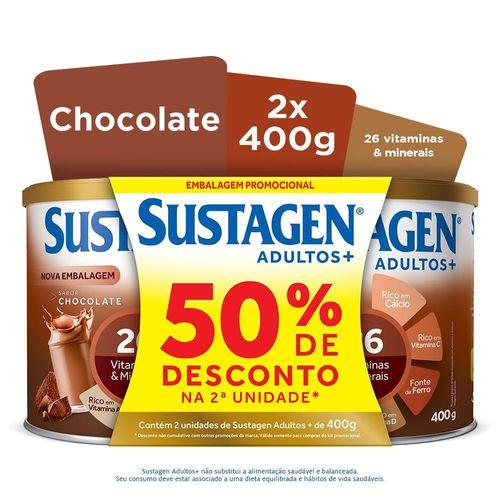 Complemento Alimentar Sustagen Adultos+ Sabor Chocolate - Kit Lata 2x400g