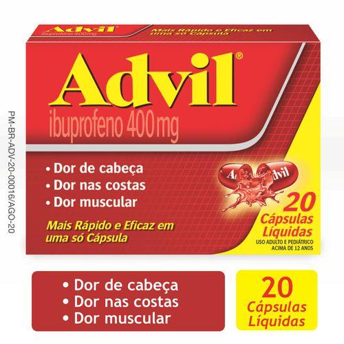 Advil Extra Alívio 400mg Analgésico para Alívio das dores caixa com 20 cápsulas líquidas