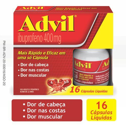 Advil Extra Alívio 400mg Analgésico para Alívio das dores frasco com 16 cápsulas líquidas