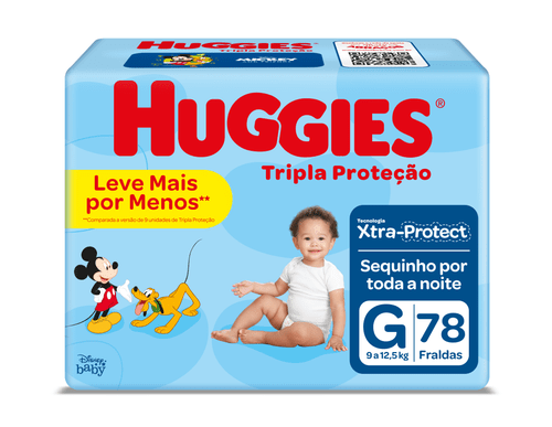 Fralda Huggies Tripla Proteção Hiper Tamanho G Com 78 Unidades