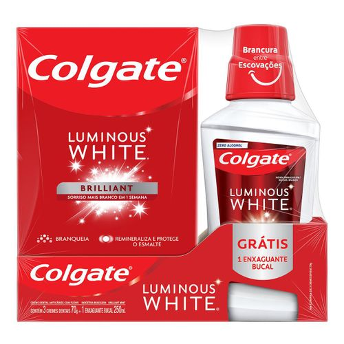 Creme Dental para Clareamento Colgate Luminous White Brilliant Mint 70g Promo Grátis 1 Enxaguante Bucal