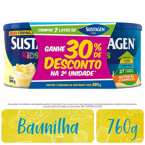 Complemento Alimentar Sustagen Kids Sabor Baunilha - Kit Lata 2x380g