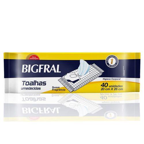 Toalha Umedecida Bigfral Wipes Com 40 Unidades