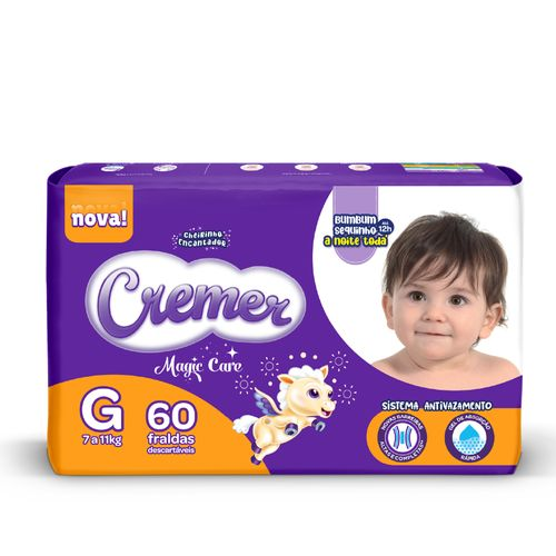 Fralda Cremer Baby Hiper Proteção Até Noite E Dia Tamanho G Com 60 Unidades